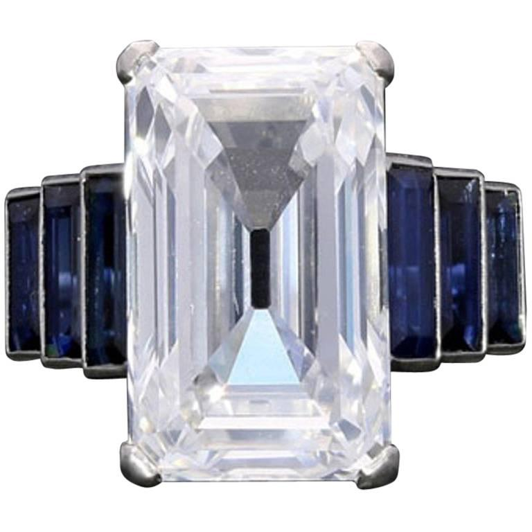 Art Deco Emerald-Cut 'Golconda' Diamond Ring with Graduated Sapphire Shoulders 1