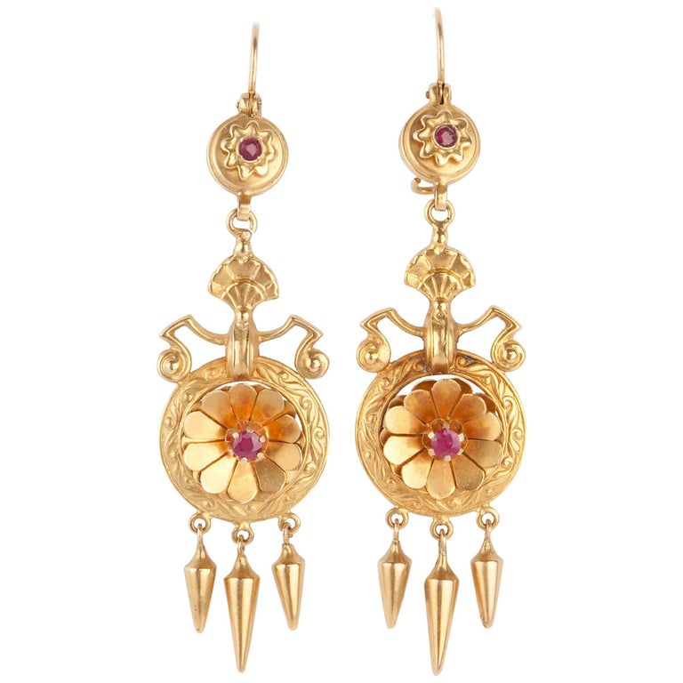 Pair of 15 Karat Gold Etruscan Revival Victorian Earrings