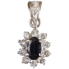 Sapphire and Diamond Cluster Drop 18 Carat White Gold Pendant