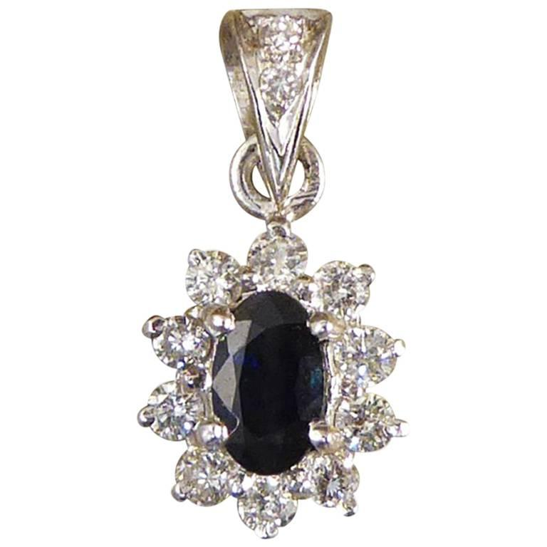 Sapphire and Diamond Cluster Drop 18 Carat White Gold Pendant For Sale