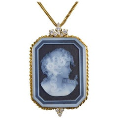 Diamond and Banded Agate Portrait Pendant in 18 Carat Gold