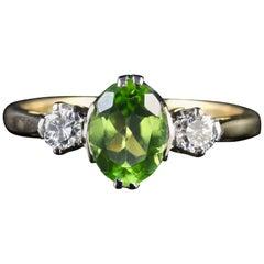 Antique Victorian Peridot Diamond Trilogy Ring, circa 1900