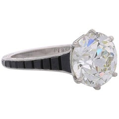 4.14 Carat Old European Cut Diamond Ring with Calibre Cut Onyx Shoulders