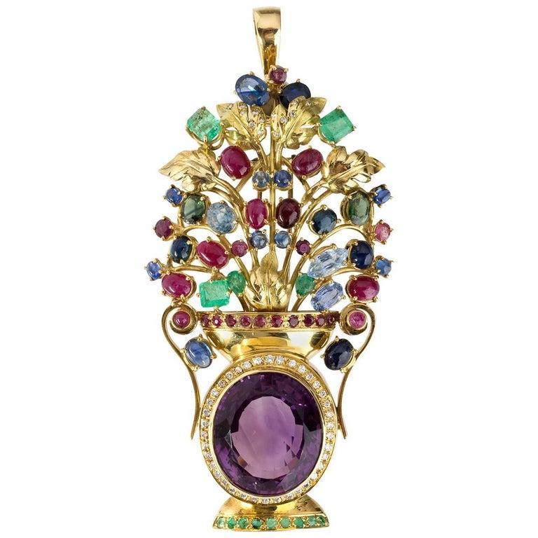 Amethyst Sapphire Emerald Ruby Diamond Brooch-Pendant