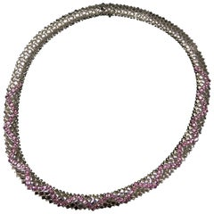 White Gold and Pink Saphire Necklase