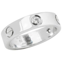 Cartier 18 Karat White Gold Three Diamond Love Band Ring