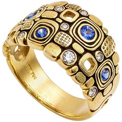 Alex Sepkus Gold Sapphire and Diamond Dome Ring
