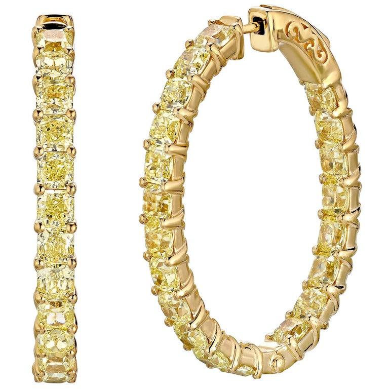 12.50 Carat Fancy Intense Diamond Hoops