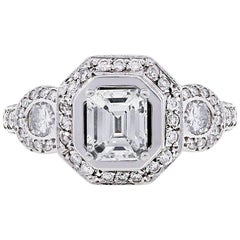 GIA Certified 1.03 Carat Emerald Cut Diamond Engagement Ring
