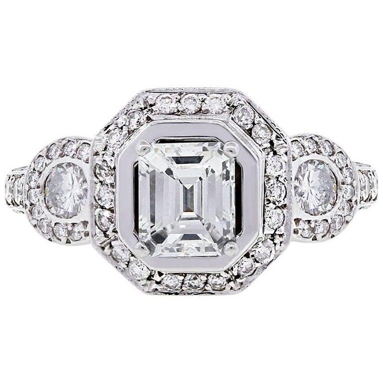 GIA Certified 1.03 Carat Emerald Cut Diamond Engagement Ring