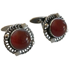 Georg Jensen Sterling Silver Cufflinks No. 16 with Amber