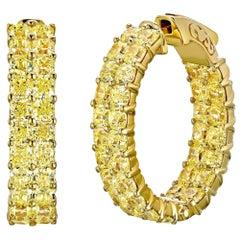 Emilio Jewelry 12.30 Carat  Fancy Intense Yellow Diamond Hoop Earrings