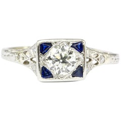 Art Deco Platinum Diamond and Sapphire Square Top Ring