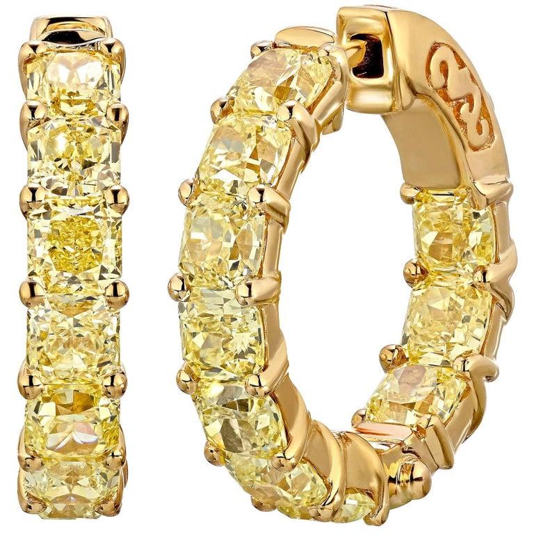 6.05 Carat Radiant Fancy Intense Yellow Diamond Hoop Earrings 1