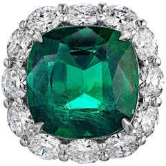 17.00 Carat Gem Quality Emerald Diamond Ring