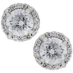 Round Brilliant Diamond Halo Stud Earrings