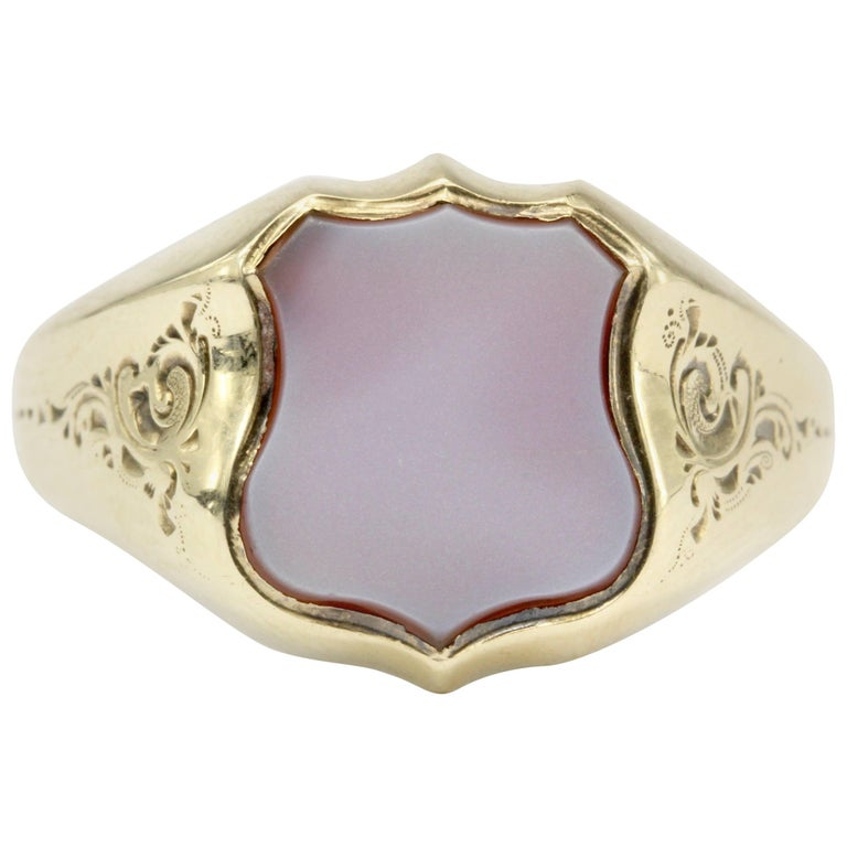 French Belle Époque 3rd Republic Banded Agate Signet Ring