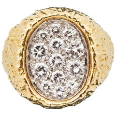 1970s Van Cleef & Arpels Clustered Diamond Gold Cocktail Ring