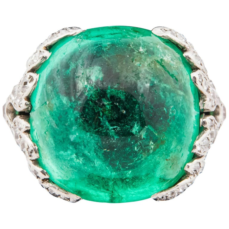 1920s Cabochon Emerald Platinum and Diamond Ring