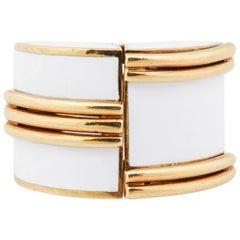 1970s Large David Webb White Enamel Gold Ring