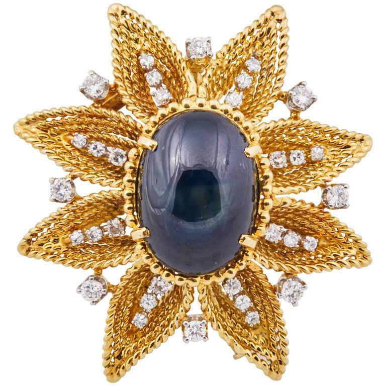 Diamond Gold Star Sapphire Cabochon Brooch Pendant