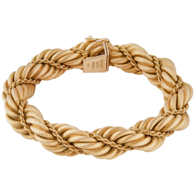 Tiffany & Co. Signed 18 Karat Rope Bracelet, 1960s