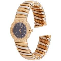 1980s Bulgari Tubogas Women's 18 Karat Gold Cuff Watch with Black Dial