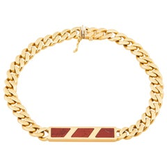 Bulgari Signed 18 Karat Gold and Carnelian ID Bracelet, circa 1970