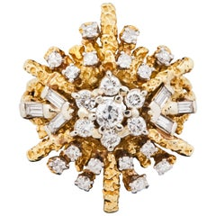 1950s French 18k Gold and Diamond Starburst Cocktail Ring