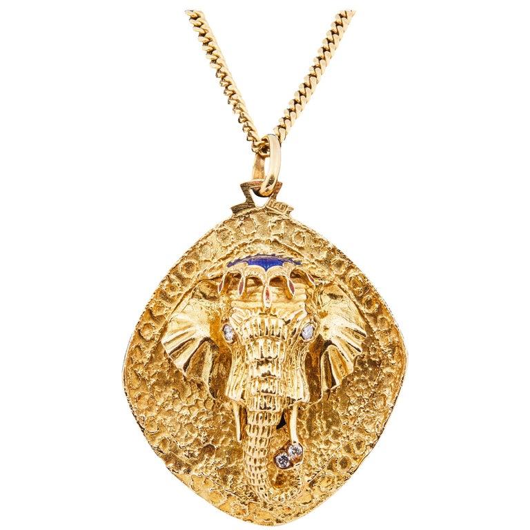 Italian 1960s 18k Gold Enamel and Diamond Elephant Pendant on 18k Gold Chain