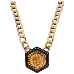 David Webb 1851 Liberty Head Dollar Enamel Hexagon Gold Pendant Choker