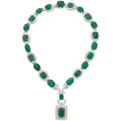 Important Carved Emerald and Diamond Necklace