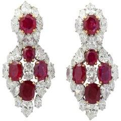 Burmese Ruby Diamond Earrings by Bulgari