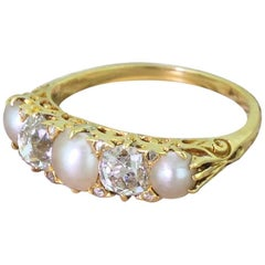 Victorian Pearl and Old Cut Diamond Carved Half Hoop Ring