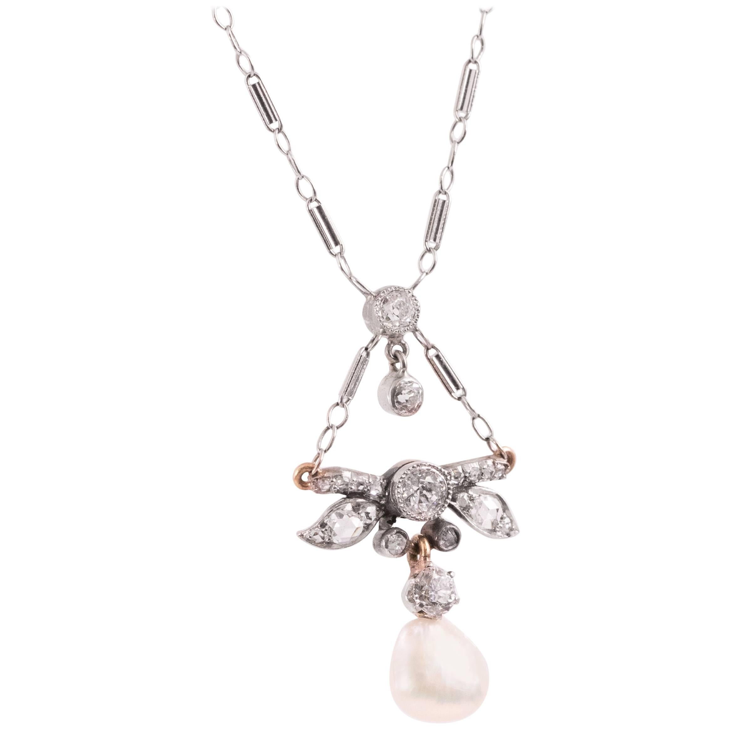 1870s Victorian 1.00 Carat Diamond and Pearl 14 Karat White Gold Necklace