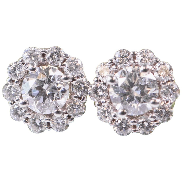 2 Carat Diamond Halo And 14 Karat Gold Stud Earrings For