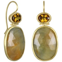 Faye Kim 18k Gold Garnet and Sapphire Hinged Drop Earrings