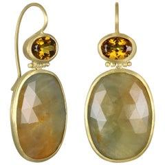 Faye Kim 18k Gold Garnet and Sapphire Hinged Drop Earrings