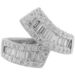 2.50 Carat Diamond and 18 Karat White Gold Wraparound Ring