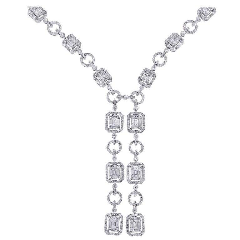 Diamond Mosaic Lariat Necklace
