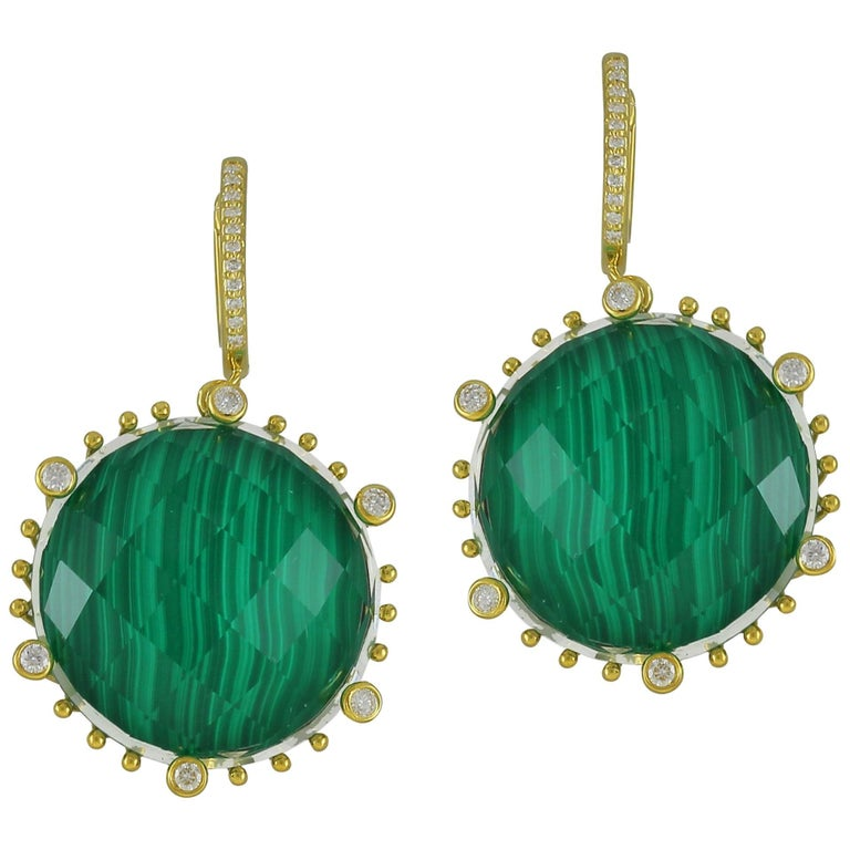 Frederic Sage 50.74 Carat Malachite Earrings For Sale