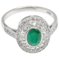 Art Deco Emerald Diamond Ring 18 Karat White Gold