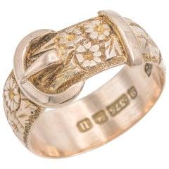 Antique Belt Ring 9 Karat Engraved with Flowers