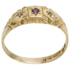 Antique Ruby and Diamond Star Engraved Band in 18 Karat Yellow Gold