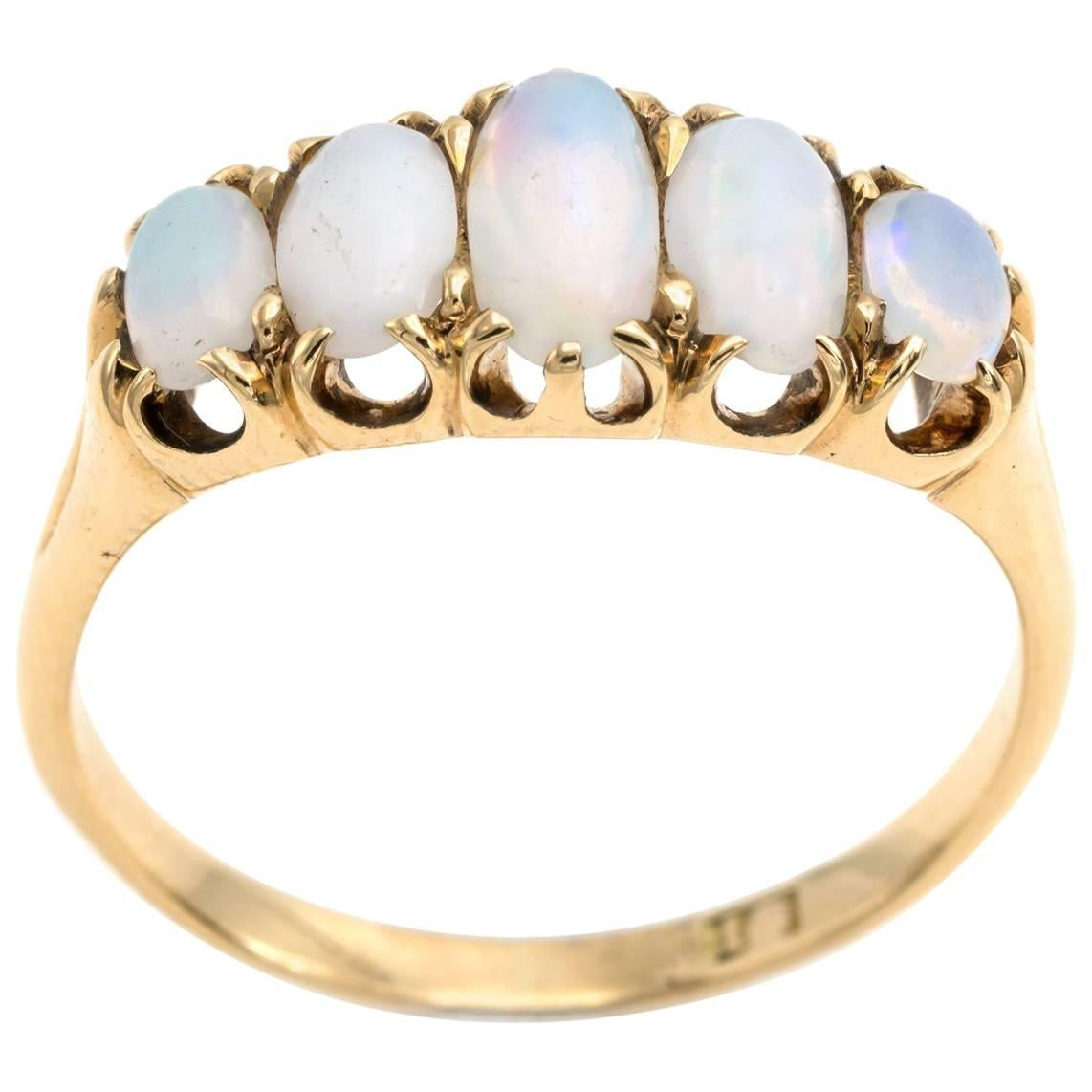 Antique Five Oval Opal Ring 18 Karat Yellow Gold