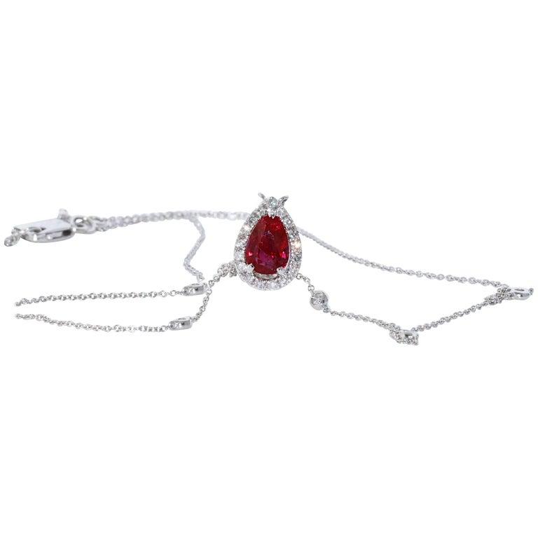 1.76 Burma No Heat Pear Shape Ruby and Diamond Pendant