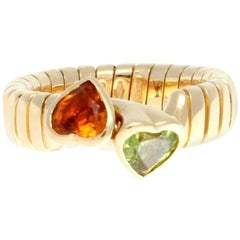 Bulgari Interlocking Citrine Peridot Heart Gold Ring