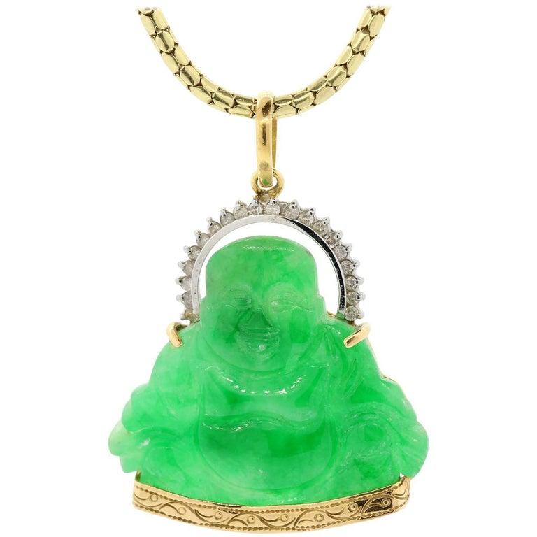 Jadeite Diamond Buddha Gold Pendant