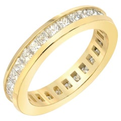 Boorma 14 Karat Princess Cut SI 1 G Color 2.79 Carat Channel Set Eternity Band