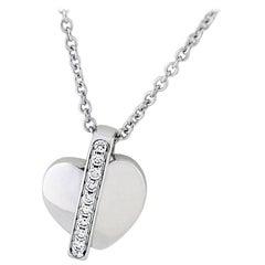 Piaget Diamond Heart Necklace 18 Karat White Gold